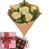 5 кремових троянд з цукерками