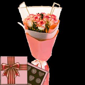 7 троянд «Джумілія» з цукерками
