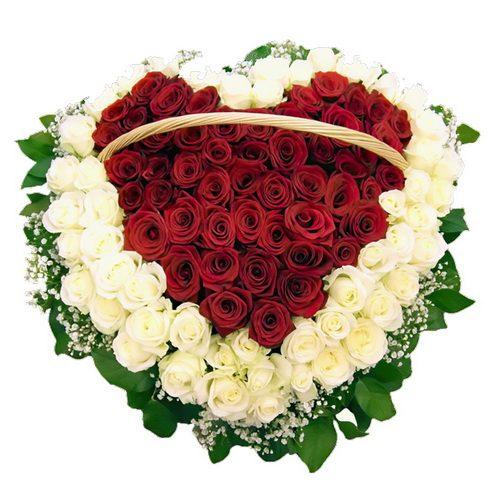 фото товару 101 троянда серцем у кошику