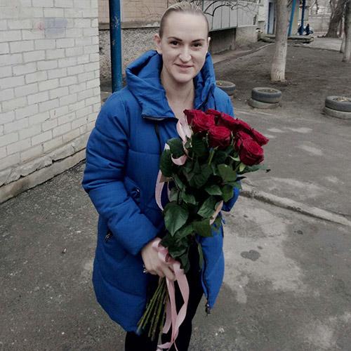 Букет З тобою 11 червоних троянд